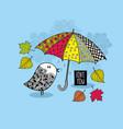doodle bird under the colorful bright umbrella vector image