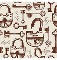 Vintage seamless pattern of locks and keys vector image vector image