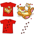 kid shirt with cute bear printed - isolated on vector image