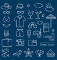 Summer Objects Linear Icons Set vector image