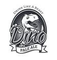 dinosaur craft beer brewery logo concept T vector image vector image