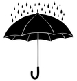 Umbrella and rain silhouettes vector image