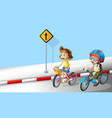Boy and girl riding bike on the street vector image