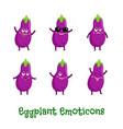 eggplant smiles cute cartoon emoticons emoji vector image