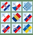Flags on stamps vector image
