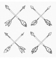 hand drawn arrows cross vector image