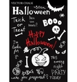 Hand Drawn Halloween Chalk Doodles Set vector image