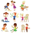 Artist kids children set vector image