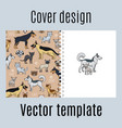 cover with cats and dogs pattern vector image