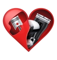 Metal engine inside a red heart vector image