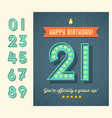 birthday card with 3d light bulb numbers vector image