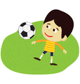 boy playing football or soccer vector image