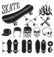 set of skateboarding designer elements vector image
