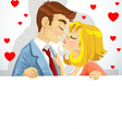 Couple in love kissing and holding big banner vector image vector image