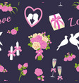 wedding and valentine day seamless pattern vector image