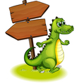 A crocodile beside the wooden empty arrowboard vector image