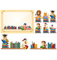 paper frame and many animals reading books vector image vector image
