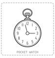 Flat outline icon pocket watch isolated on white vector image