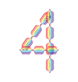 Number 4 made in rainbow colors vector image vector image