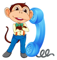 Monkey with receiver vector image vector image
