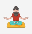 Bearded man in meditation vector image