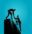 climbing to the top of the rock vector image