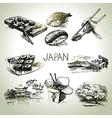 Hand drawn vintage Japanese set vector image