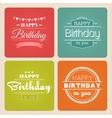 Happy birthday typography label set vector image