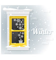 hello winter background with window painting vector image