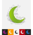 moon paper sticker with hand drawn elements vector image