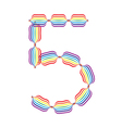 Number 5 made in rainbow colors vector image vector image