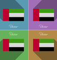 Flags United Arab Emirates Set of colors flat vector image