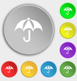 Umbrella icon sign Symbol on eight flat buttons vector image