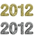 Two 2012 year made with glossy glitter vector image