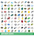 100 iron icons set isometric 3d style vector image