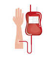 hand human with bag blood donation icon vector image