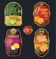 golden labels for organic fruit product vector image