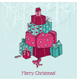 Christmas Card - Christmas Tree from Gifts vector image