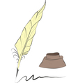 feather and inkwell vector image vector image