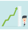 Business man use ruler measure graph vector image