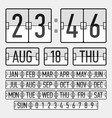 Flip clock template with time date and day vector image