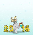 Background with doodle reindeer and Christmas vector image