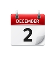 December 2 flat daily calendar icon Date vector image