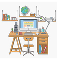 flat lines modern workplace vector image