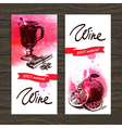 Banners of mulled wine vintage background vector image