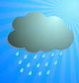 Cloud and rain drop with blue rays vector image