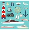 Nautical and marine icons design element sea vector image