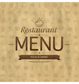 Vintage Restaurant Menu Design vector image