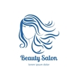 Blue icon with girl face silhouette vector image vector image