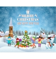 Children building snowman vector image